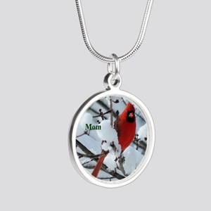 Snow Cardinal Silver Round Necklace