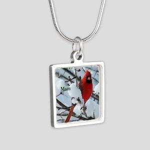 Snow Cardinal Silver Square Necklace