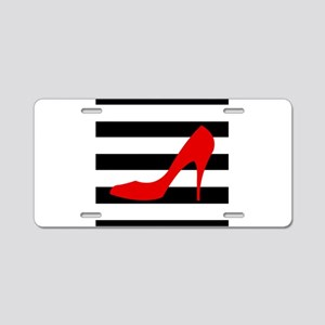 Red High Heel on Stripes Aluminum License Plate