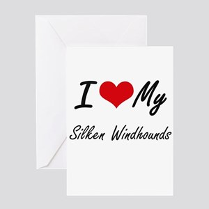 I Love My Silken Windhounds Greeting Cards