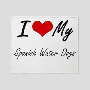 I Love My Spanish Water Dogs Throw Blanket
