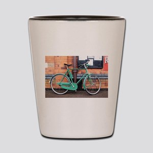 Green Bicycle Vintage Shot Glass