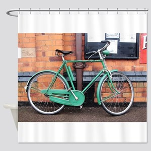 Green Bicycle Vintage Shower Curtain