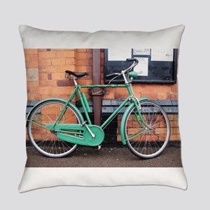 Green Bicycle Vintage Everyday Pillow