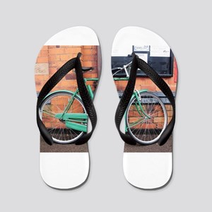 Green Bicycle Vintage Flip Flops