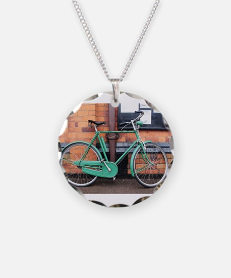 Green Bicycle Vintage Necklace