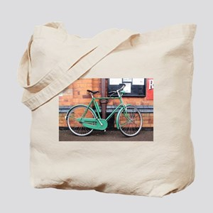 Green Bicycle Vintage Tote Bag