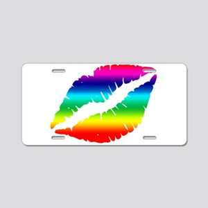 Pride Rainbow Lips Kiss Aluminum License Plate