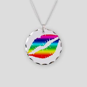 Pride Rainbow Lips Kiss Necklace Circle Charm