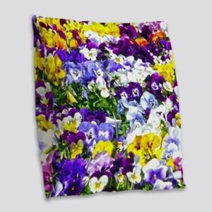 Pansies Burlap Throw Pillow