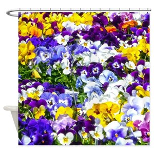 Pink Pansy Shower Curtains