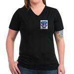 Patinet Women's V-Neck Dark T-Shirt