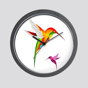 Colorful Hummingbirds Birds Wall Clock