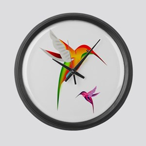 Colorful Hummingbirds Birds Large Wall Clock