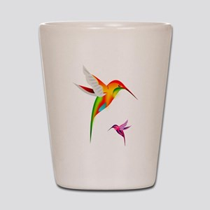 Colorful Hummingbirds Birds Shot Glass