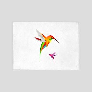 Colorful Hummingbirds Birds 5'x7'Area Rug