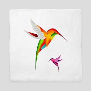 Colorful Hummingbirds Birds Queen Duvet
