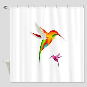 Colorful Hummingbirds Birds Shower Curtain