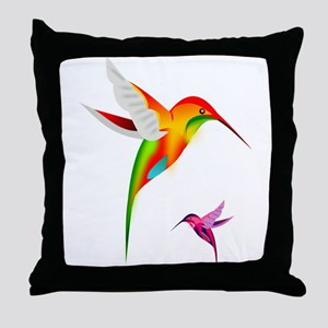 Colorful Hummingbirds Birds Throw Pillow