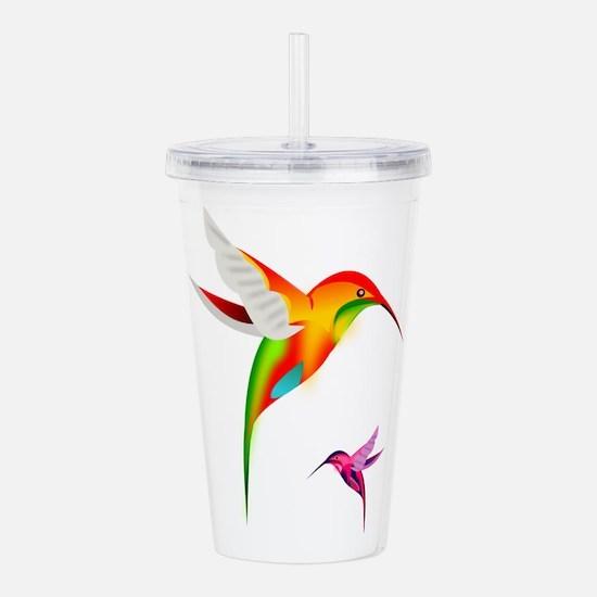 Colorful Hummingbirds Acrylic Double-wall Tumbler