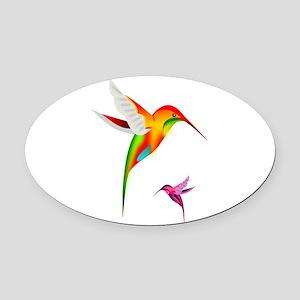 Colorful Hummingbirds Birds Oval Car Magnet