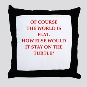 flat,earth,society Throw Pillow