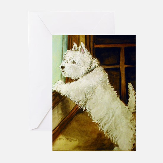 Waiting Westie Greeting Cards (Pk of 20)