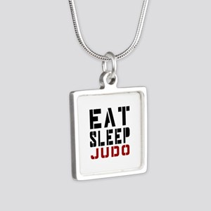 Eat Sleep Judo Silver Square Necklace
