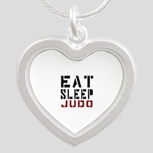 Eat Sleep Judo Silver Heart Necklace