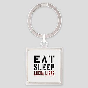 Eat Sleep Lucha Libre Square Keychain