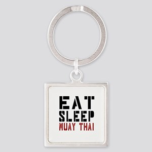 Eat Sleep Muay Thai Square Keychain