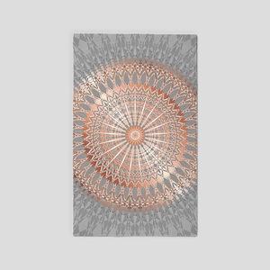 Rose Gold Gray Mandala Area Rug