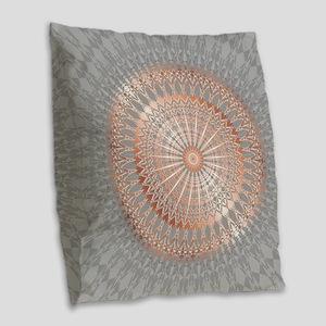 Rose Gold Gray Mandala Burlap Throw Pillow
