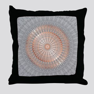 Rose Gold Gray Mandala Throw Pillow