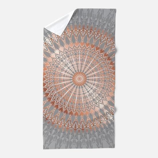 Rose Gold Gray Mandala Beach Towel