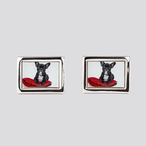 Cute Dog on Heart Cushion Rectangular Cufflinks