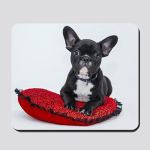 Cute Dog on Heart Cushion Mousepad