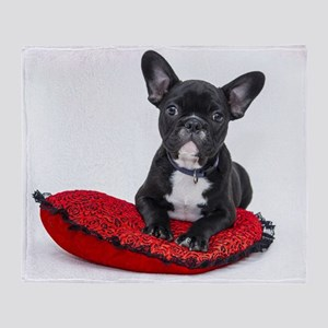 Cute Dog on Heart Cushion Throw Blanket