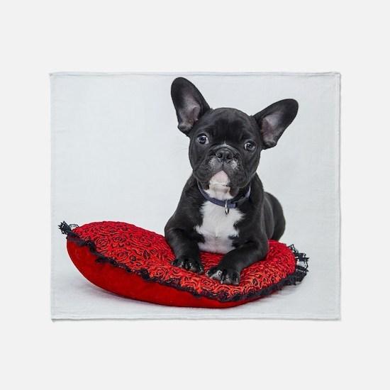 Cute Dog on Heart Cushion Throw Blanket