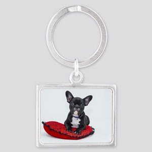 Cute Dog on Heart Cushion Keychains