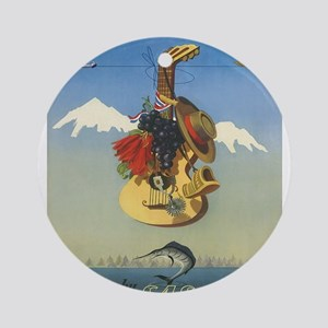 Vintage poster - Chile Round Ornament