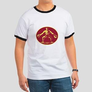 Athlete Lifting Kettlebell Oval Woodcut T-Shirt