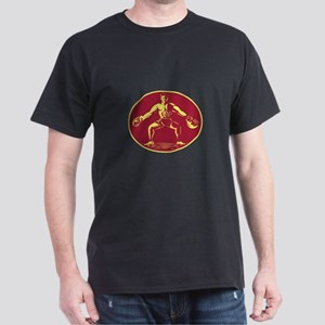 Athlete Lifting Kettlebell Oval Woodcut T-Shirt