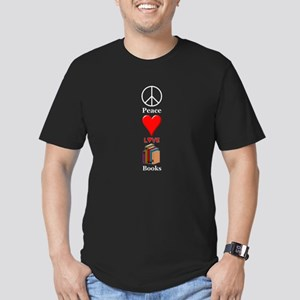 Peace Love Books Men's Fitted T-Shirt (dark)