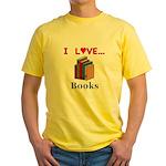 I Love Books Yellow T-Shirt