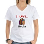 I Love Books Women's V-Neck T-Shirt