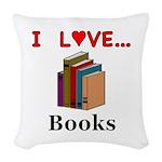I Love Books Woven Throw Pillow
