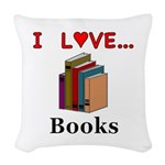 I Love Books Woven Throw Pillow