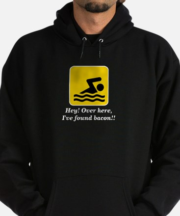 Hey I've Found Bacon Funny Swimming Hoodie (dark)