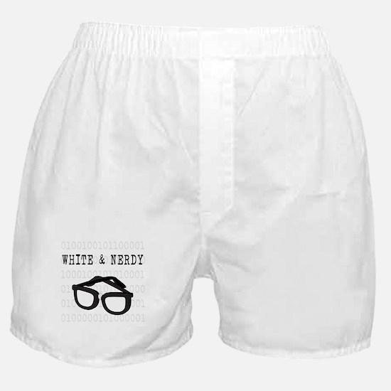 White & Nerdy Boxer Shorts